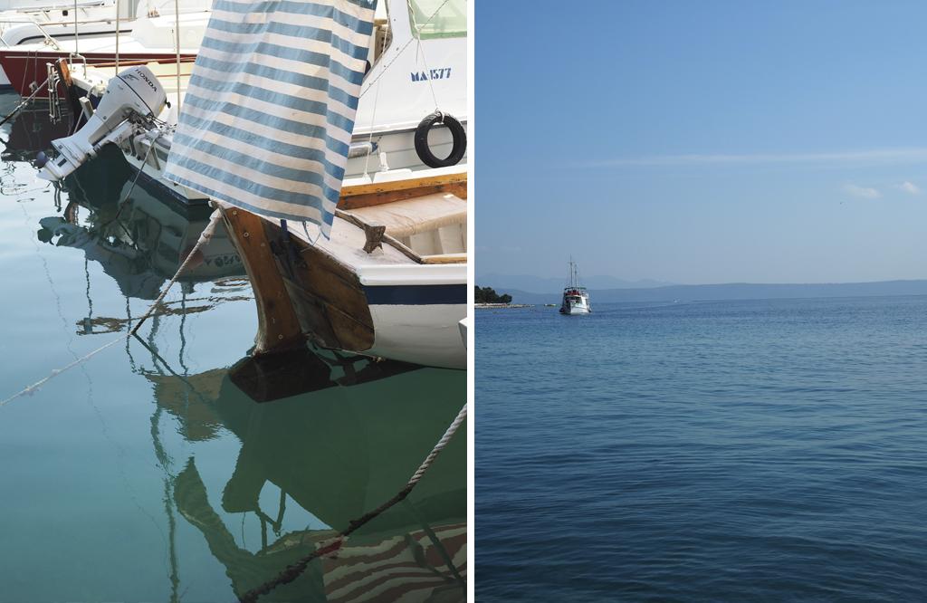 Adrianmeren siniset aallot ja kalastajaveneet